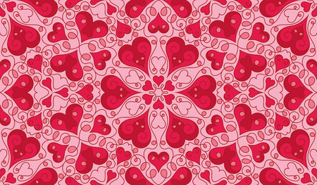 Seamless pattern with heart shapes and scroll lines illustration Vector