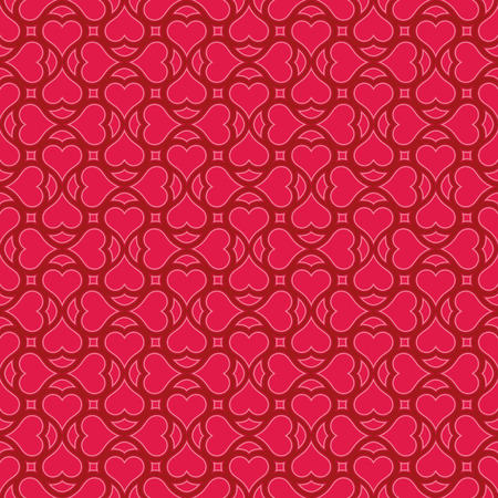 eros: Seamless pattern with heart shapes and scroll lines illustration