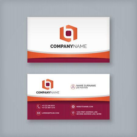 Design Business Card template. Two sides with hexagon abstract logo. Illusztráció