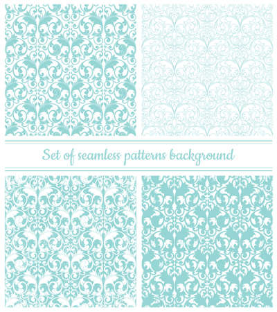 Collection of seamless damask patterns in pastel blue color. Vector illustration.