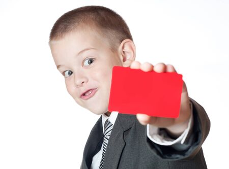 index card: little boy holding a blank Stock Photo