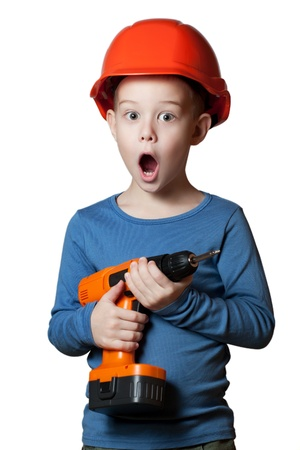 assistant engineer: little boy with screwdriver
