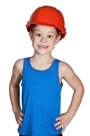 little boy with hard hat and in too big jeans Stock Photo - 12011239