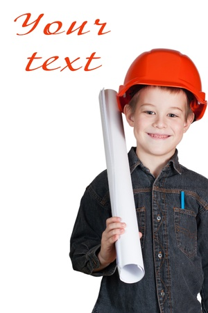 little boy with drawing and in hard hat Stock Photo - 12164177