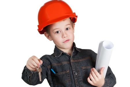 Adorable future architect over a white background Stock Photo - 12164186