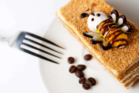 Delicious cake with coffee beans photo