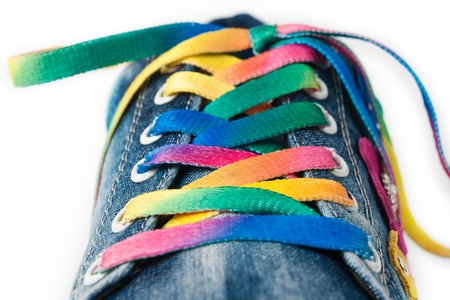 Bright colorful shoelace and sneakers photo