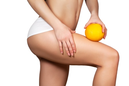 with orange and white body: Hip, legs, isolated Stock Photo