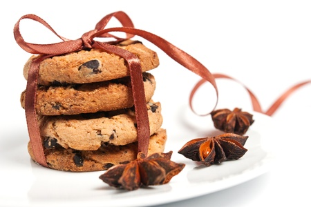 chocolate cookies tied brown ribbon photo
