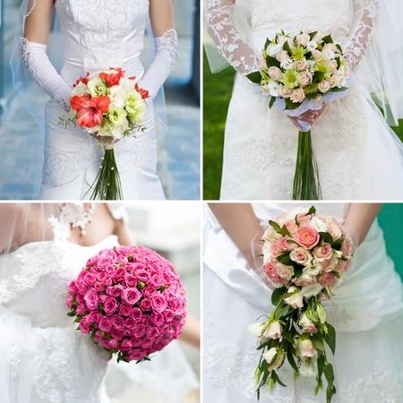 position d amour: bouquet de la mariée dans les mains de la mariée s