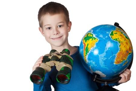 Boy with a globe photo
