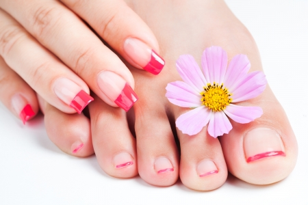 french manicure and pedicure  relaxing with flowers