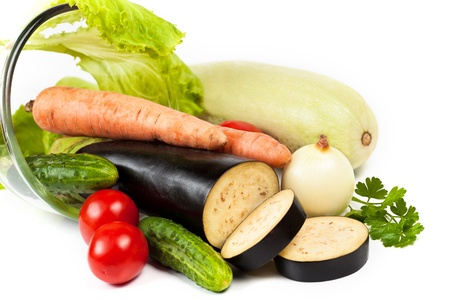 chasnok: Fresh raw vegetables isolated on white background