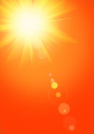 Summer background with magnificent summer sun burst with lens flare Stock Photo
