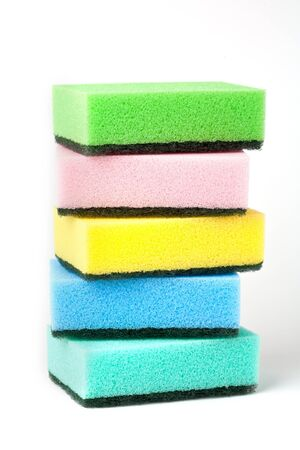 cleanin sponges isolated on white background photo