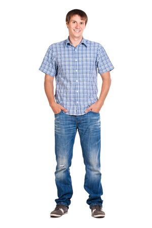 guy in a checkered shirt, isolated  Stock Photo - 15063606