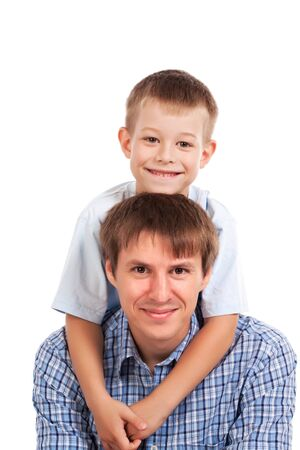 portrait of happy father and son  isolated Stock Photo - 15063623