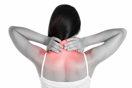 body pain: pain  girl holds neck in his hands  isolated