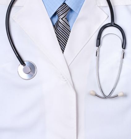 doctors lab white coat with stethoscope  Close up
