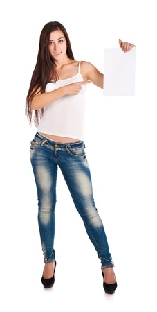 brunette woman in white t-shirt and blue jeans