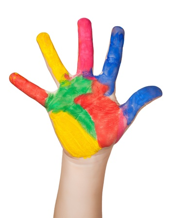 painted colorful hand  isolated photo