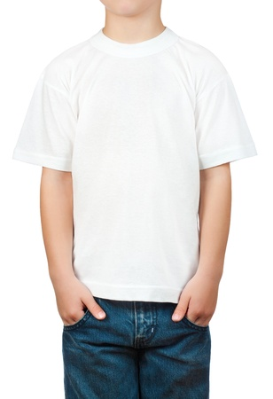 white t-shirt on a little boy Stock Photo