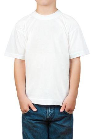 white t-shirt on a little boy Stockfoto