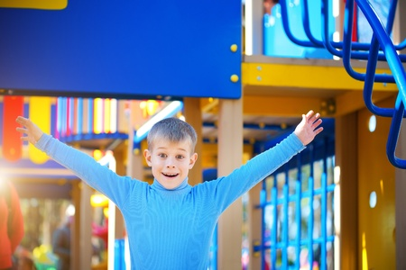 Little cute boy is playing on playground Stock Photo - 16193061