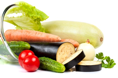 Fresh raw vegetables isolated on the white Stock Photo