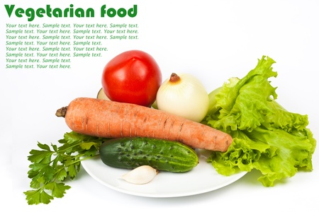 Fresh raw vegetables in plate