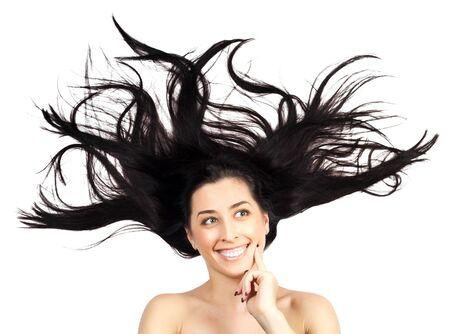 gente loca: Mujer joven con el pelo largo extendidas aislado Foto de archivo