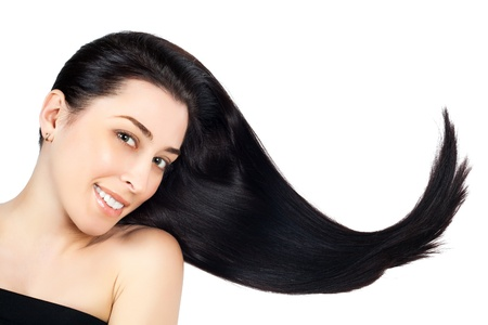 woman with long brown straight hairs photo