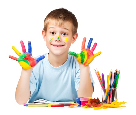 happy boy with stained coloured hand Stock Photo - 16977198