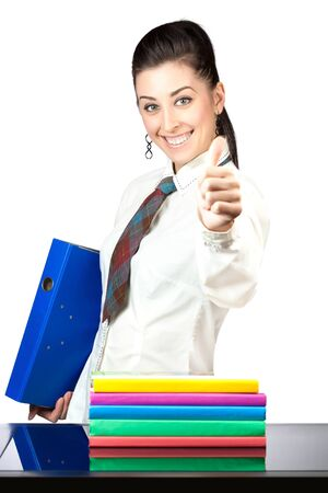 cute girl with office folders  isolated photo