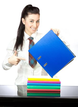 happy girl with office folders  isolated photo