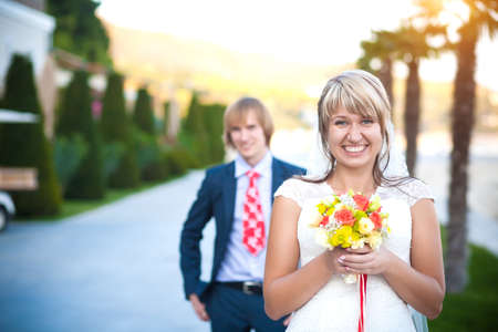 happy couple in a sunny tropical  park Stock Photo - 17412836