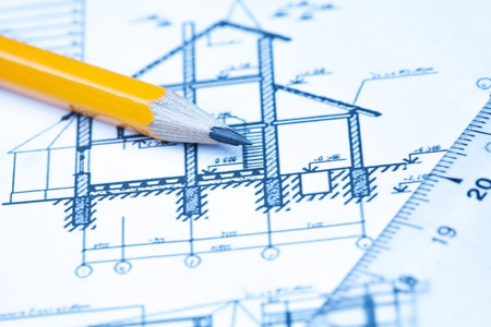 architectural drawing: engineering and architecture drawings with pencil
