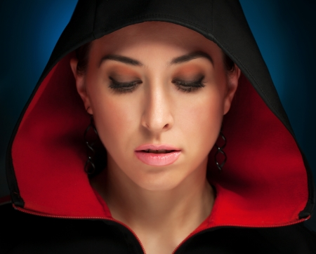 Portrait of a beautiful mysterious woman photo