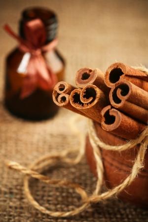 cinnamon: cinnamon rolls in wooden bowl  macro