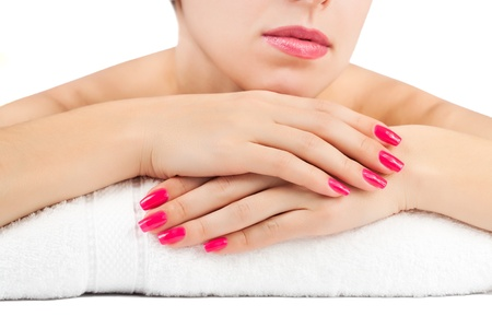 woman s hands  spa salon  isolated