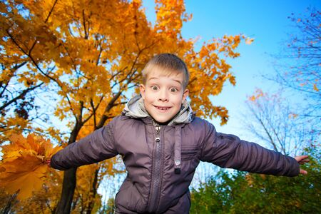 happy cheerful kid on a background of sky and autumn trees