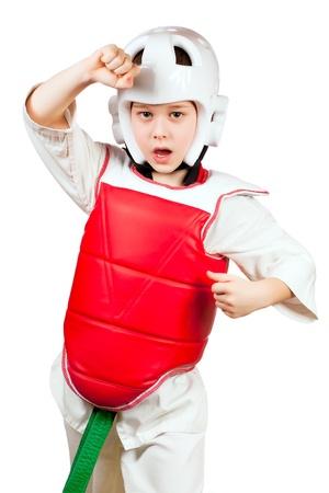 Young sportsman training karate  photo