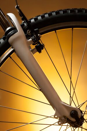bicycle wheel with suspension fork photo