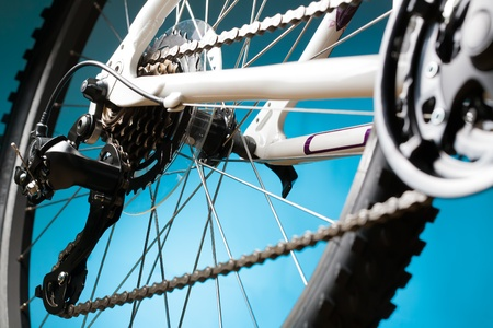 Rear mountain bike cassette on the wheel with chain photo