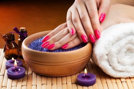 nail spa: lavender bath salt and flower