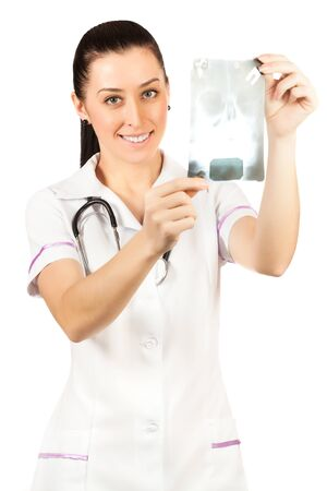 lapel: woman doctor is looking roentgenogram. isolated Stock Photo