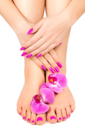 manicure: pink manicure and pedicure with a orchid flower Stock Photo
