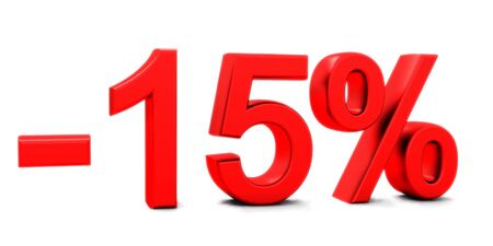 3D rendering of a 15 per cent in red letters on a white background Banco de Imagens