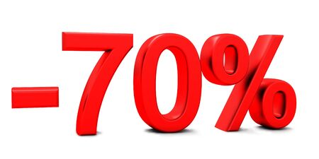 3D rendering of a 70 per cent in red letters on a white background Banco de Imagens