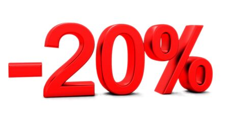 3D rendering of a 20 per cent in red letters on a white background